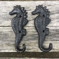 Lot 5 Hippocampus Style Cast Iron Wall Coat Hooks Hat Hook Hall Tree black