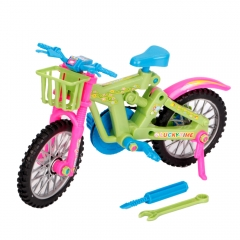DIY Miniature Emulational Plastic Bicycle Vehicle Toy Barbie Rotatable Wheels as picture one size