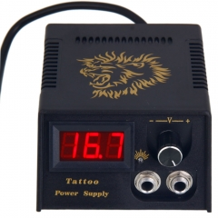 LCD Digital Display Tattoo Machine Power Supply with Cable black