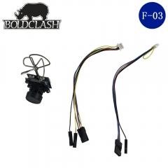 Boldclash F-03 5.8GHz 40CH Mini AIO VTX FPV Camera for Indoor FPV Drone black one size