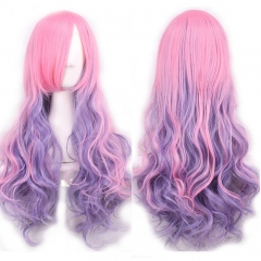 Anime COS Harajuku Style 70CM Synthetic Fiber Long Curly Full Wig Cosplay Party Halloween as picture one size