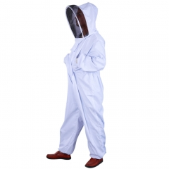 Thickened Beekeeping Coverall Suit Veil Bee Keeping Hat Pull Over Full Body XL white