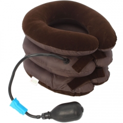 Inflatable 3 Layered Vertebra Cervical Spine Tractor Neck Support Pillow Massage brown