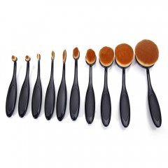 10Pcs Oval Cream Puff Cosmetic Toothbrush Shaped Makeup Foundation Power Brushes black
