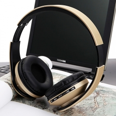 New 4 in 1 Foldable Wireless Stereo FM Bass Bluetooth Headphone Headset Earphone Champagne