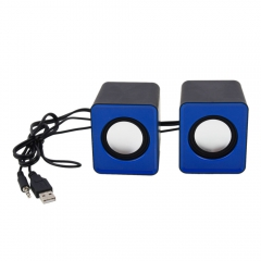 A Pair USB Multimedia Mini Speaker 3.5mm Jack for Computer Desktop PC Laptop New blue