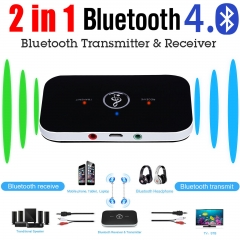 Bluetooth 2.1 2-in-1 Audio Receiver and Transmitter Music Sound Wireless Adapter black one size