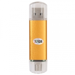 New 32GB  USB 2.0 Flash Drive U Disk for PC Android Phone golden one size 32gb