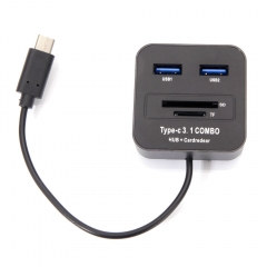 USB 3.1 Type C 2 Port USB Hub + Micro SD/SD Memory Card Reader For Macbook black one size one size