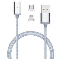2 in 1 POFAN Magnetic Braided USB Data Sync Charging Cable for Android silver