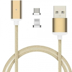 USB Data Sync Charging Cable with 8pin Lightning & Micro USB Connectors for iOS & Android golden