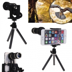 8x Zoom Optical Lens Telescope + universal holder For Camera Mobile Cell Phone black one size