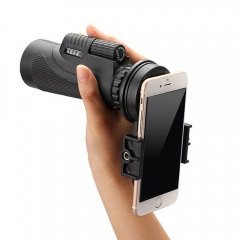 Universal 12x50 Hiking Concert Camera Lens Zoom Telescope+Smart Phone Holder black one size
