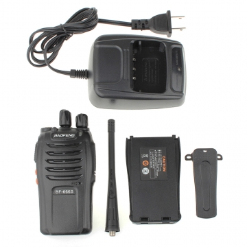 Baofeng BF-666S UHF 400-470 MHz Two-way Radio US Plug Walkie Talkie black one size