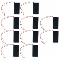 """10Pcs 3V 2 AA 2A Cell Battery Black Holder Box Case ON/OFF Switch +6""""Leads DIY"""