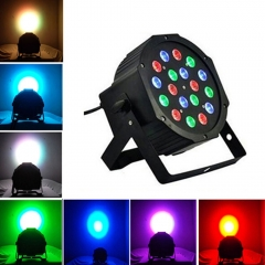 18-LED Stage Lighting 54W LED PAR38 DMX-512 Projector XMAS DJ Party Disco Light black one size 18w