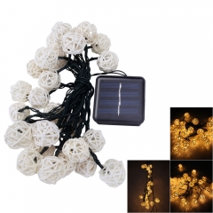 6M Solar 30-LED Rattan Ball String Fairy Lights Outdoor Garden Wedding Party warm white one size no