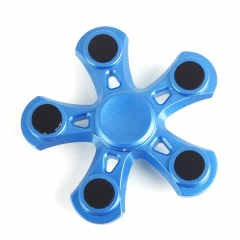 Blade Five Leaves Aluminum Alloy Hand Spinner Gadget Finger Reduce Stress blue one size