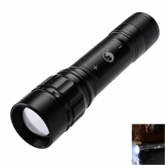 High Power Zoomable 6000 Lumens 3 Modes XML T6 LED 18650 Flashlight Torch Lamp black one
