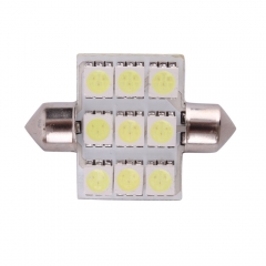 39mm 9 x 5050 SMD Car Bicuspid Light Bulb White