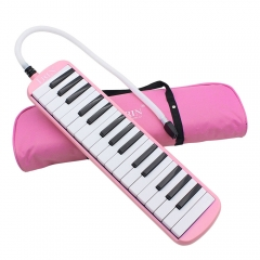 32 Piano Keys Melodica Musical Instrument for Beginners w/ Carrying Bag Pink