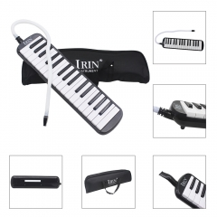 32 Piano Keys Melodica Musical Instrument for Beginners w/ Carrying Bag Black