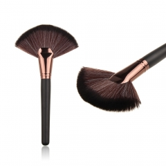 Nylon Bristle Professional Fan Brush Cosmetic Makeup Brush Coffee as picture
