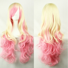 Anime COS Harajuku Style Gradient Color High-temperature Synthetic Fiber Long Curly Hair Wig 70CM as picture 70cm