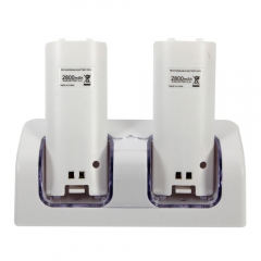 Remote Dual Charging Charger Dock Station + 2x 2800mAh Battery for Nintendo Wii white