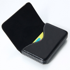 Business Portable Artificial PU Leather ID Credit Card Holder Case Wallet Black black one