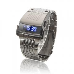 Fashion Men LED Blue Light Date Black Steel Military Sport Wrist Watch silver one size