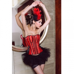 Dear-Lover Women Ruffle Black Lace Corsets Bustiers Panty Set red s