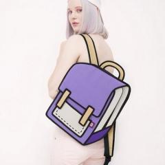 Creative 3D Stereoscopic Cartoon Nylon Backpack Schoolbag purple one size