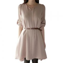 Women's Roll-up Long Sleeve Mild V-neck Chiffon Belt Dress Nude Pink M