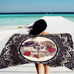 Artificial Cotton Rectangle Beach Mat Towel Sun Block Shawl Wrap Skirt Skull Printing as picture show