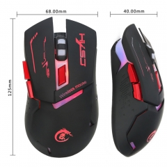 HXSJ X30B Wireless 7-Color Breathing Light 4 Adjustable DPI Gaming Mouse black one size