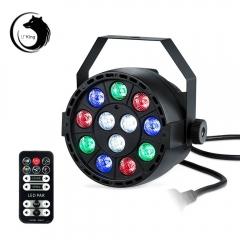 U`King 15W 12-LED 3-in-1 RGB Light Auto Strobe Sound Control DMX-512 Remote Control Stage Light rgb one size 12w