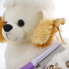 Pet Dog Cat Rabbit Animal Grooming Kit Flea Comb Hair Brush purple one