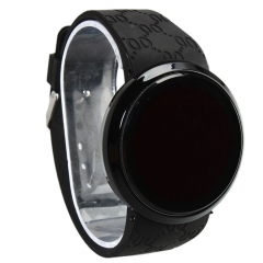 New Fashion Men's Fashion LED Digital Touch Screen Day Date Silicone Wrist Watch black
