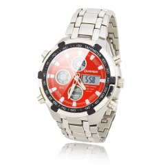 Red Background Dial Dual Cores Steel Band IPX III Waterproof Business Wrist Watch with LED silver one size