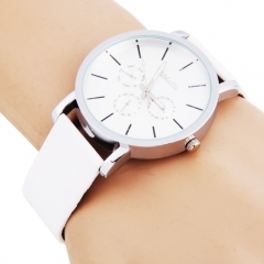 WOMAGE 9690 Men Large Size Watch Round Silver Three Small Scales white one size