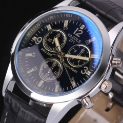 Fashion Men's Black Leather Stainless Steel Military Sport Quartz Wrist Watch black one size