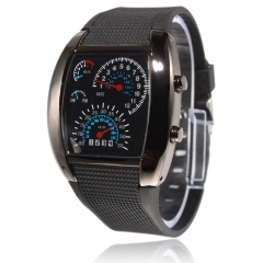 New Sports RPM Turbo Blue Flash LED Car Speedometer Meter Dial Men Gift Watch black one size