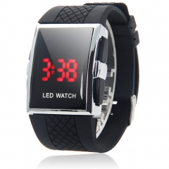 Fashion Men's Red LED Light Date Digital Millitary Sport Wrist Watch black one size