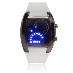 Hot Saling RPM Turbo Blue & White Flash LED Car Speed Meter Dial Mens Gift Watch white one size
