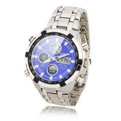 Blue Background Dial Dual Cores Steel Band Waterproof Wrist Watch with LED silver one size