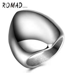 Romad Punk Style Glossy Shied Design Titanium Steel Man Ring silver 7#