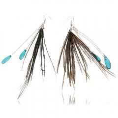 Fashion Peacock Feather Earrings Dark Green normal