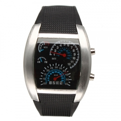 Men's Aviation Car Speedometer Dial Steel Case Blue Flash LED Sport Watch silver one size