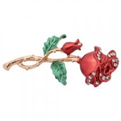 Golden Rose Brooch Pin Red & Golden normal